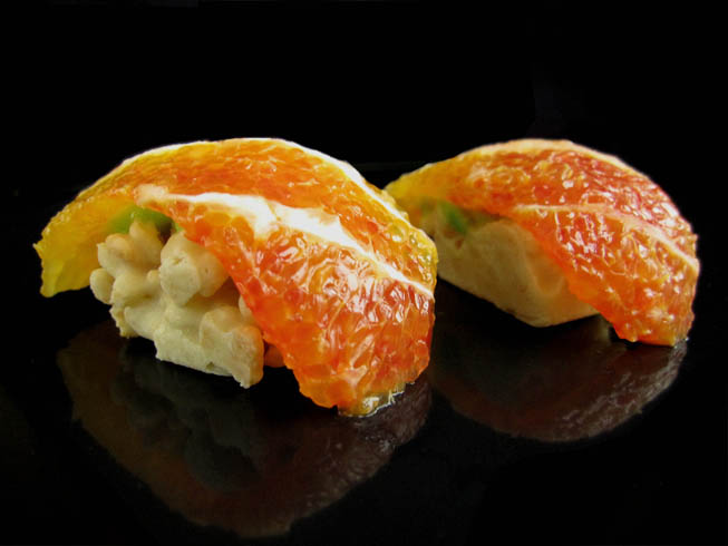 orange fake mock dessert candy fruit sushi