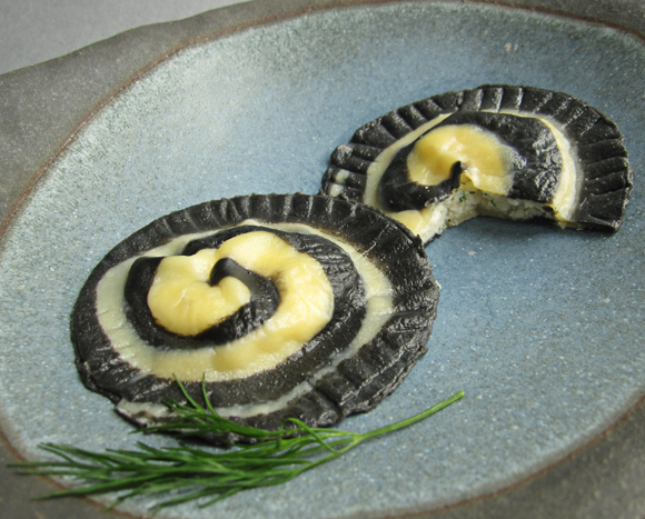 black white food spiral swirl ravioli pasta